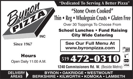 Byron Pizza Inc (519-472-0310) - Display Ad