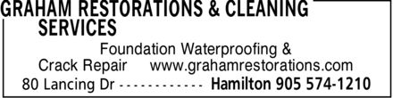 Graham Restorations & Cleaning Services (905-574-1210) - Annonce illustrée - Foundation Waterproofing & Crack Repair www.grahamrestorations.com