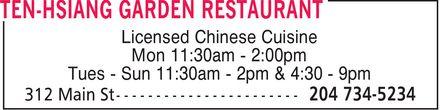 Ten-Hsiang Garden Restaurant (204-734-5234) - Annonce illustrée======= - Licensed Chinese Cuisine Mon 11:30am 2:00pm Tues Sun 11:30am 2pm & 4:30 9pm