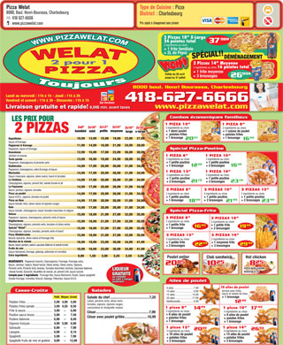 Pizza Welat (418-627-6666) - Menu