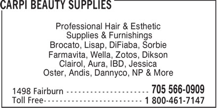 carpi beauty supplies 705 566 0909 display ad professional hair