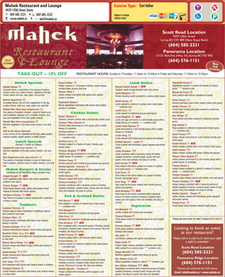 Mahek Restaurant &amp; Lounge (604-585-3331) - Menu