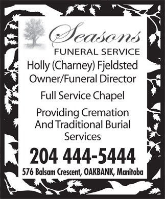 Seasons Funeral Service (204-444-5444) - Annonce illustr&eacute;e