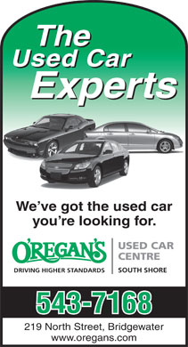 O'Regan's South Shore Used Car Centre (902-543-7168) - Annonce illustr&eacute;e