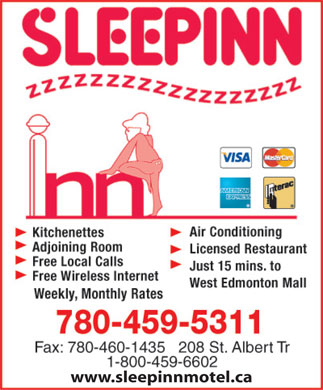 Sleep Inn Motel (780-459-5311) - Display Ad