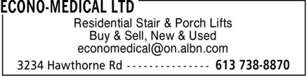 Econo-Medical Ltd (613-738-8870) - Display Ad - Residential Stair & Porch Lifts Buy & Sell, New & Used economedical@on.albn.com