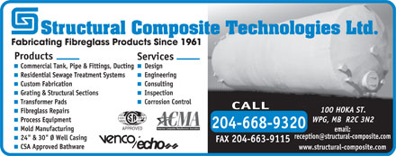 Structural Composite Technologies Ltd (204-668-9320) - Display Ad