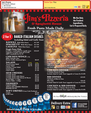 Jim's Pizzeria (604-793-9333) - Menu