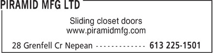 Piramid Mfg Ltd (613-225-1501) - Display Ad