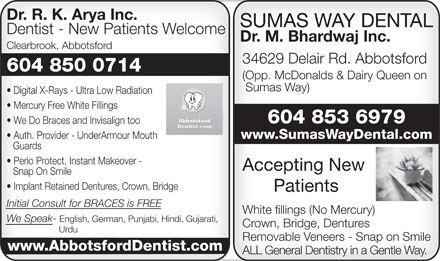 Arya R K Dr Inc (604-850-0714) - Display Ad