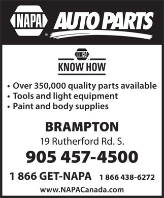 NAPA Auto Parts (905-457-4500) - Display Ad
