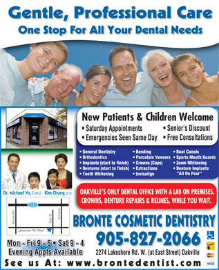 Bronte Cosmetic Dentistry (905-827-2066) - Display Ad