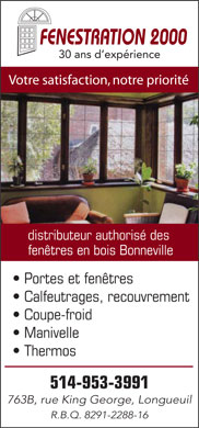 Fenestration 2000 (514-953-3991) - Annonce illustr&eacute;e