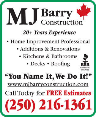 MJ Barry Construction (250-216-1361) - Annonce illustrée