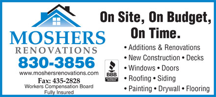 Mosher's Renovations Ltd (902-830-3856) - Annonce illustrée