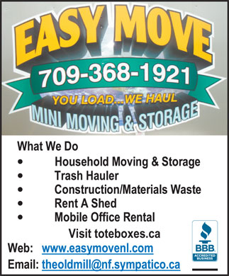 Easy Move (709-368-1921) - Annonce illustrée - Visit toteboxes.ca