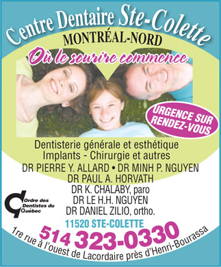 Centre Dentaire Sainte-Colette (514-323-0330) - Display Ad