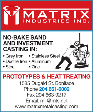 Matrix Industries Inc (204-661-6002) - Display Ad