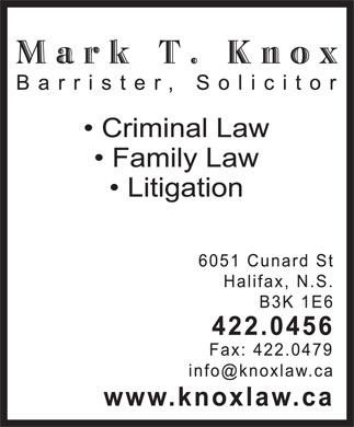 Knox Mark T (902-422-0456) - Display Ad