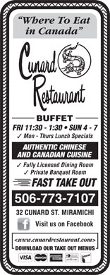 Cunard Restaurant (506-773-7107) - Display Ad
