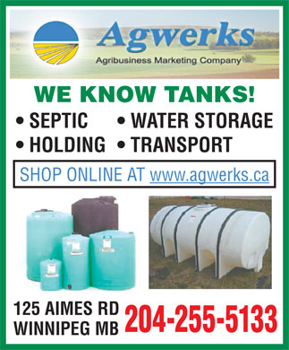 Agwerks (204-255-5133) - Annonce illustrée - WE KNOW TANKS! SEPTIC WATER STORAGE HOLDING  TRANSPORT SHOP ONLINE AT www.agwerks.ca 125 AIMES RD 204-255-5133 WINNIPEG MB