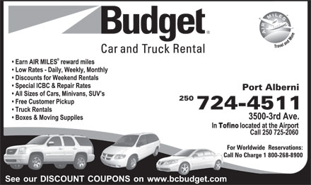Budget Car &amp; Truck Rental (250-724-4511) - Display Ad