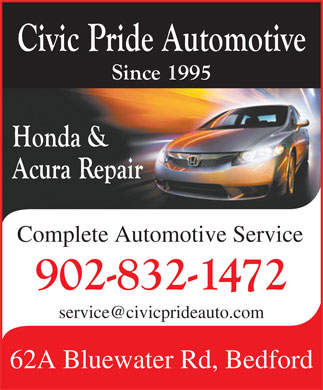Civic Pride Automotive (902-832-1472) - Display Ad - Complete Automotive Service 62A Bluewater Rd, Bedford Complete Automotive Service 62A Bluewater Rd, Bedford