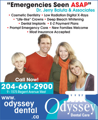 Odyssey Dental Care (204-661-2900) - Display Ad