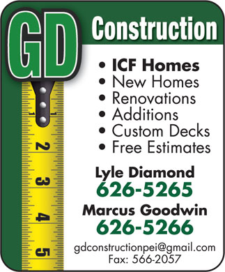GD Construction (902-626-5266) - Display Ad
