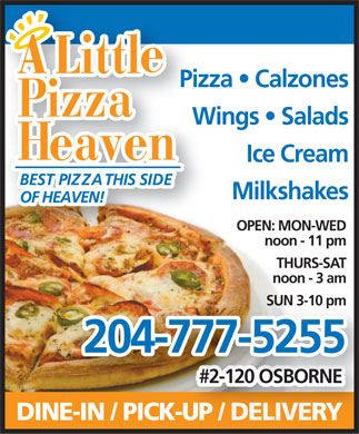 A Little Pizza Heaven (204-777-5255) - Annonce illustrée