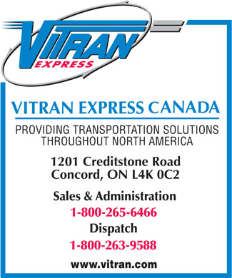 Vitran Express Canada Inc Sales &amp;Administration (1-800-265-6466) - Annonce illustr&eacute;e