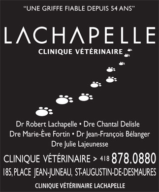 H&ocirc;pital V&eacute;t&eacute;rinaire Lachapelle (418-878-0880) - Display Ad