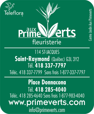 Aux Primeverts Centre Jardin Inc (418-337-7797) - Display Ad