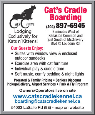 Cat's Cradle Boarding Kennel 2006 (204-897-6945) - Display Ad