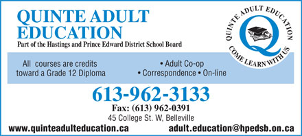 With you adult area learning quinte can discussed
