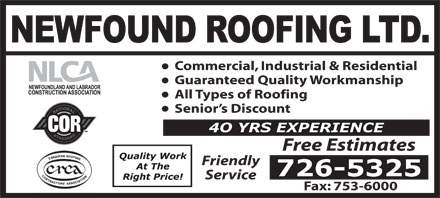 Newfound Roofing Ltd (709-726-5325) - Display Ad