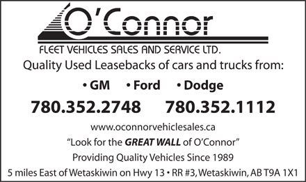 O'Connor Truck & Equipment Sales & Service Ltd (780-352-2748) - Display Ad
