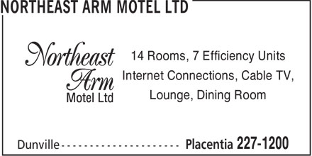 Northeast Arm Motel Ltd (709-227-1200) - Annonce illustrée
