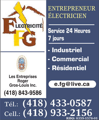 EFG Electricité (418-433-0587) - Display Ad