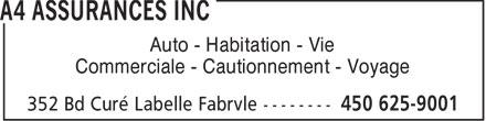 A4 Assurances Inc (450-625-9001) - Annonce illustrée======= - Auto - Habitation - Vie Commerciale - Cautionnement - Voyage