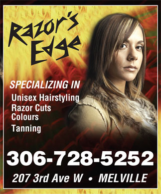 The Razor's Edge (306-728-5252) - Annonce illustrée - 207 3rd Ave W MELVILLE SPECIALIZING IN Unisex Hairstyling Razor Cuts Colours Tanning 306-728-5252