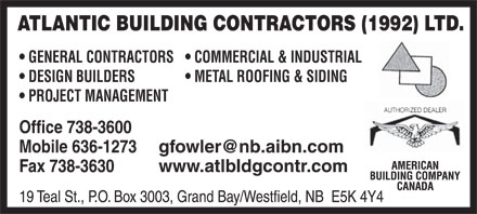 Atlantic Building Contractors 1992 Ltd (506-738-3600) - Annonce illustrée