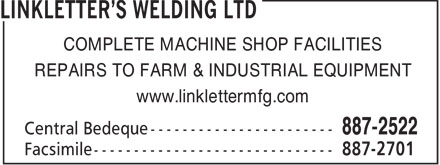 Linkletter's Welding Ltd (902-887-2522) - Annonce illustrée - COMPLETE MACHINE SHOP FACILITIES REPAIRS TO FARM & INDUSTRIAL EQUIPMENT www.linklettermfg.com