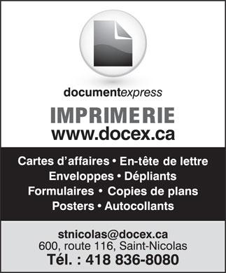 Document Express (418-836-8080) - Annonce illustr&eacute;e - www.docex.ca