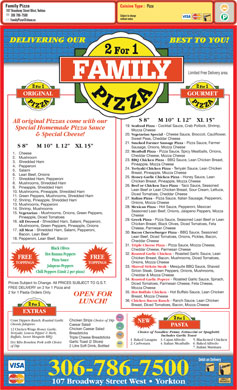 Family Pizza (306-786-7500) - Menu