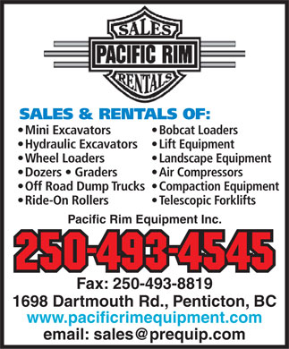 Pacific Rim Equipment Inc (250-487-3864) - Display Ad
