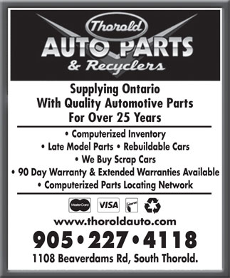 Thorold Auto Parts & Recyclers (905-227-4118) - Display Ad