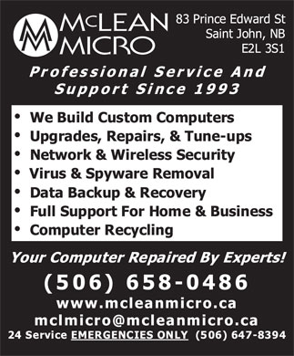 McLean Micro Inc (506-658-0486) - Display Ad