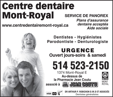Centre Dentaire Mont-Royal (514-523-2150) - Annonce illustr&eacute;e