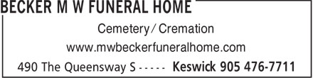 Becker M W Funeral Home (905-476-7711) - Display Ad